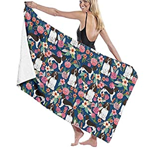 """NiYoung Beach Towel Large Beach Blanket Towel Ultra Soft Super Water Absorbent Multi-Purpose 32"""" x 51"""", English Springer Spaniel and Retro Floral 4"""