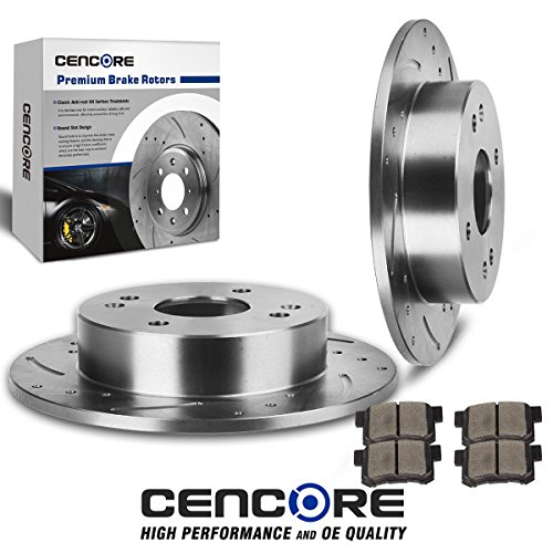 Cencore Rear Left & Right Non-Coated Anti-Rust Brake Disc Plate Kit Cross Drilled & Slotted 2 Brake Rotors & 4 Ceramic Brake Pads Compatible with 1998-1999 Acura CL 1998-2002 Honda Accord Coupe, Sedan