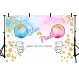 MEHOFOTO Blue or Pink Gender Reveal Elephant Backdrop Studio Photography Props Balloons Gold Polka Dots Boy or Girl Baby Shower Party Photo Booth Background Banner for Dessert Table Supplies 7x5ft