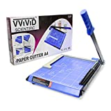"VViViD Guillotine Style 11.5"" Bladeless Arm Wide-Based Blue Paper Cutter Including Magnetic Alignment Arm"