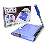 "VViViD Guillotine Style 11.5"" Bladeless Arm Wide-Based Blue Paper Cutter Including Magnetic Alignment"
