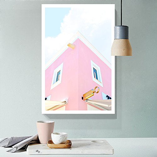 Fresh Pink Color Tone Building Drawing