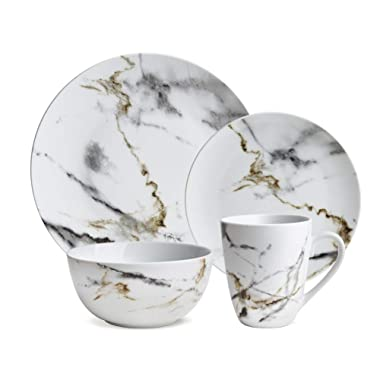 Hoomeet White Marble Design 16-Piece Dinnerware Set, Service for 4.
