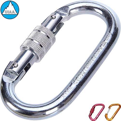 2x Auto Locking Carabiner Clips D Shaped for Hammock Carabiner Dog Leash