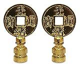 Royal Designs Asian Symbols Lamp Finial for Lamp Shade- Polished Brass Set of 2
