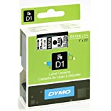 DYMO Standard D1 Self-Adhesive Polyester Tape for Label Makers, 1-inch, Black print on Clear, 23-foot Cartridge (53710)