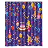 Happy Birthday Children Celebration Waterproof Fabric Polyester Bathroom Shower Curtain with 12 Hooks 60''(w) x 72''(h)