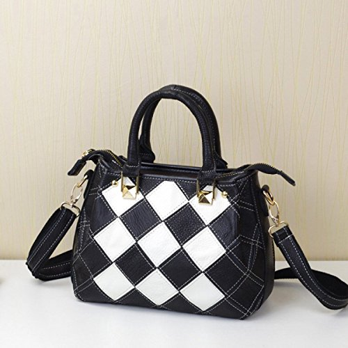 Handbag Small Hit Cuero Bolsos Square Yanzi Americana Blackandwhite Messenger Bag De black TnXzxq7WqH