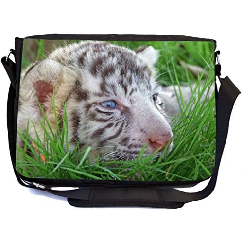 Rikki Knight Baby white Tiger In Grass With Bright Blue Eyes Design Multifunctional Messenger Bag - School Bag - Laptop Bag - with padded insert for School or Work - Includes Matching Compact Mirror