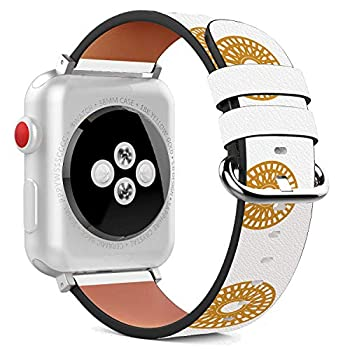 Compatible with Apple Watch - 42mm Leather Wristband Bracelet with Stainless Steel Clasp and Adapters - Hearts and Doughnuts