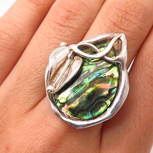 VTG Signed 925 Sterling Abalone Shell Calla Lily Floral Design Ring Size 6.5 Jewelry by Wholesale Charms