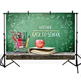 MEHOFOTO Photo Studio Booth Backdrops Welcome Back to School Themed Party Decoration Book Blackboard Banner Backgrounds for Photography