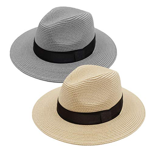 - ZOORON Women Straw Fedora Hat, Panama Beach Sun Hat Summer Wide Brim Straw Floppy Hat UPF 50+
