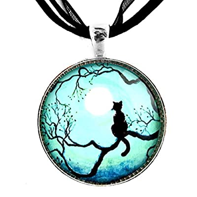 Black Cat Silhouette Necklace Teal Blue Moon