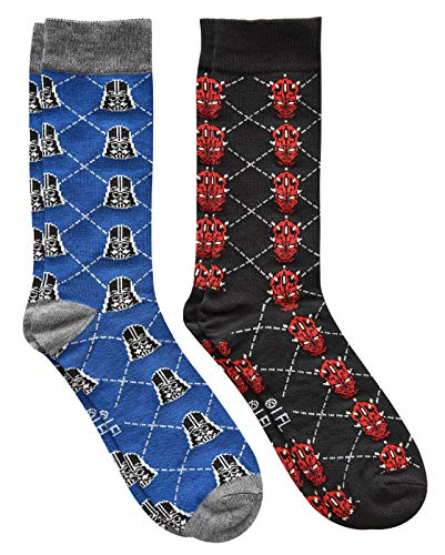 Star Wars Darth Vader/Darth Maul Argyle Men's Crew Socks 2 Pair Pack Shoe Size -