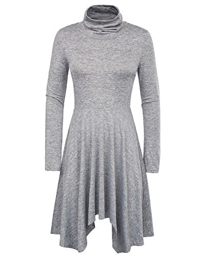 Womens Comfy Swing Tunic Long Sleeve Solid Shift Dress S Grey