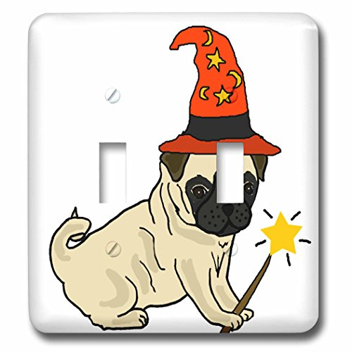 3dRose All Smiles Art Pets - Funny Cute Pug Dog Wizard Halloween Cartoon - Light Switch Covers - double toggle switch (Pics Of Halloween Pugs)
