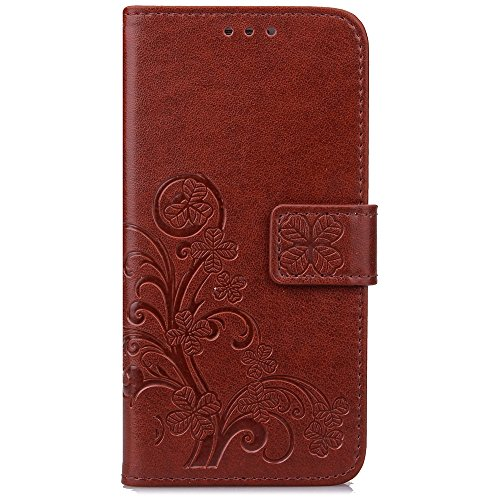 Cuitan PU Leather Case for Samsung Galaxy S7 Edge, Four Leaf Clover Stand Wallet Case with Card Slots & Lanyard, Magnetic Closure Flip Protective Case Cover Shell Skin for Samsung S7 Edge - Brown