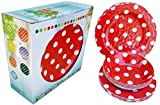ITALIA 12pcs 11'' Melamine dinner set Red Polka Dot 4pcs bowl+4pcs dinner plate+4pcs salad plate