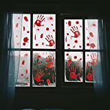 Pawliss 5 Sheets Halloween Bloody Handprint Footprint Window Clings Decals, Horror Bathroom Decor Zombie Walking Dead Party Decorations, 12-Inch by 17-Inch Sheet