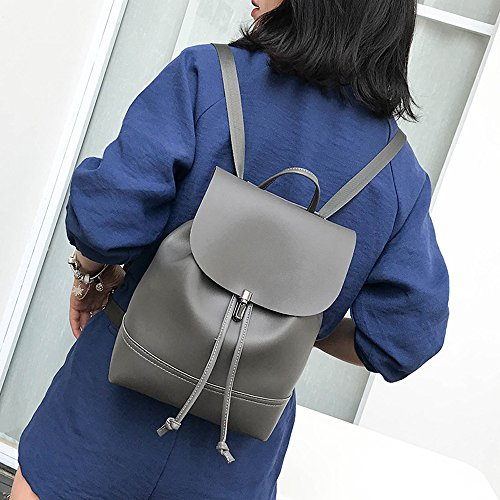Satchel KIMODO Color Gray Shoulder Trave Leather Pure Bag Women Backpack Bag School Dark TTwr8qUx