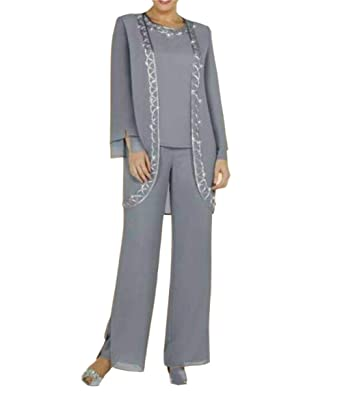 Dmdrs Women S Gray Chiffon Pants Suit Mother Formal Wear With Jacket