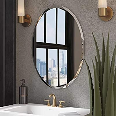 "KOHROS Oval Beveled Polished Frameless Wall Mirror for Bathroom, Vanity, Bedroom (24"" W x 35"" HOval) - this wall mirror brings a feel of minimalism to any space as it offers a clear look at your reflection. Mount it in the bath or powder room for a convenient spot to fix hair and apply makeup, or set it in the entryway as a last-minute checkpoint before you head out the door. No matter where it lives, this mirror's silver finish and frameless silhouette add ultramodern appeal to your abode. Better yet, it hangs both vertically and horizontally to suit your Simple yet sophisticated, this frameless wall mirror ups the ante of your favorite aesthetic. Defined by its beveled design and rectangular silhouette, this sleek and glass design anchors any wall in eye-catching style. Add this wall mirror to your master suite powder room to complement a clean and cohesive arrangement, then use it to give yourself one last look before heading out on a night on the town. Whether your look is uptown loft or breezy coastal, this versatile design ups the ante Unframed and understated, this sleek bathroom mirror is perfect for opening up your powder room or another space in your home. This beveled glass piece showcases an oval,rectangle,square,round silhouette, and it is available in several sizes to ensure it fits into the room you had in mind. Two standard hooks are bonded at the back, so you can mount it vertically or horizontally as soon as it reaches your door. - bathroom-mirrors, bathroom-accessories, bathroom - 51uvSrIZmrL. SS400  -"