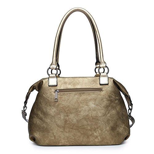 Gray Fur Bag Faux Shoulder Womens London Puter Craze nqfwC6Yx