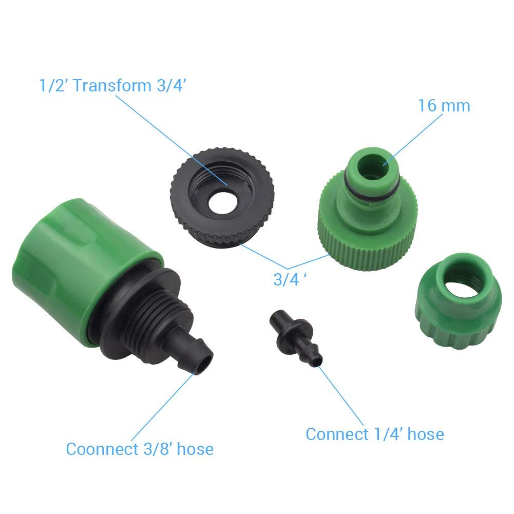 BeGrit Garden Hose Pipe One Way Adapter Connector Fitting for Irrigation Pack of 2
