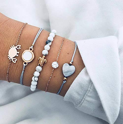 (Hemau Fashion Charm Women Stainless Steel Lots Style Cuff Open Bracelet Bangle Chain | Model BRCLT - 130 | 5Pcs/Set Love Heart Crystal)