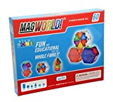 MagWorld Toys Magnetic Construction Rainbow Colors-60 Piece Set. Create 2D and 3D Shapes, Figures & Architecture. Beginner to Advanced STEM Play Age 3 and Up.