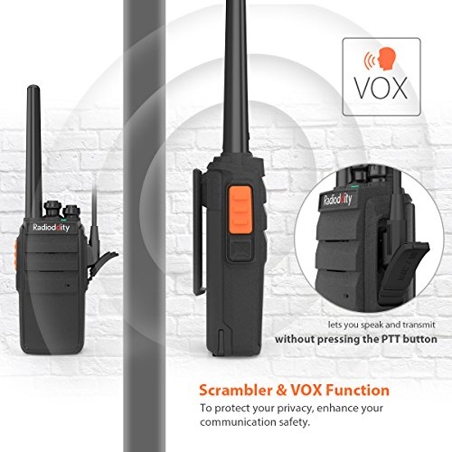 Radioddity R2 Advanced Two Way Radio UHF 400-470MHz 16 CH Scrambler VOX Rechargeable Long Range Standby time Walkie Talkies with USB Desktop Charger + Earpiece (Pack of 2) by Radioddity (Image #7)