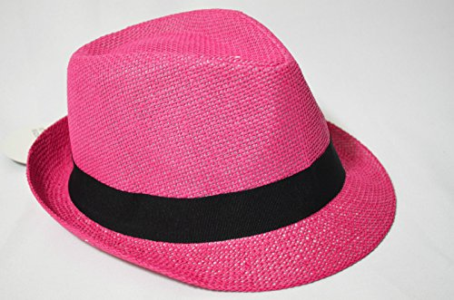 Pink Summer Women Colorful Straw Fedora Stingy Brim Trilb...