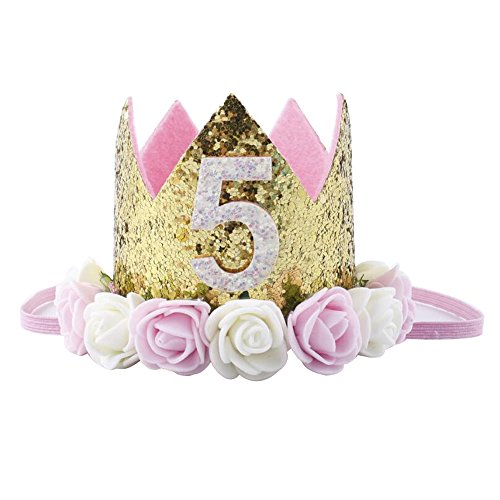 Baby Princess Tiara Crown, Baby Girls/Kids First Birthday Hat Sparkle Gold Flower Style with Artificial Rose Flower (5st Golden Crown) -