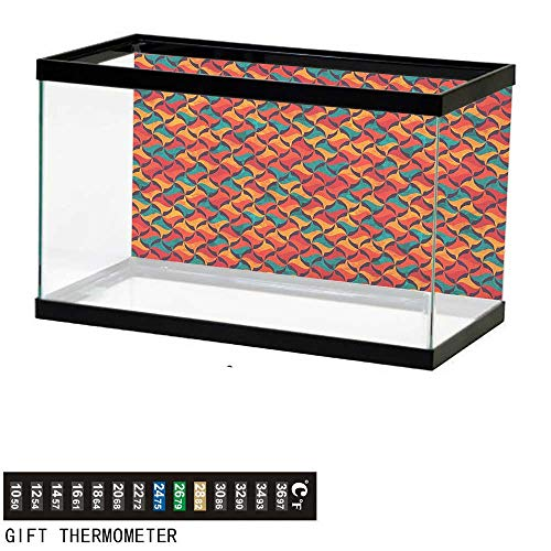 (Jinguizi GeometricFish Tank BackdropAbstract Funky Waves Contemporary Style Vibrant Tribal African Effects72 L X 24