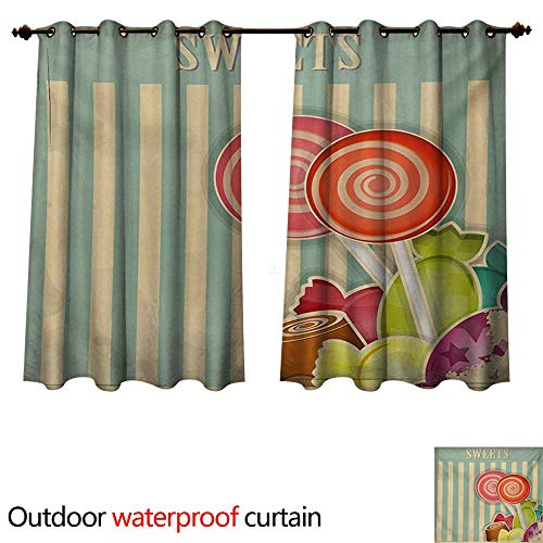 WilliamsDecor Vintage Outdoor Curtain for Patio Retro Old Candy Store Chocolates Lollipops with White Stripes on Baby Blue Backdrop W108 x L72(274cm x 183cm)