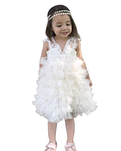 Cilucu Baby Girls Dress Kids Party Dress Toddler Tutu Pageant Lace Dresses  for Flower Girl Baby 1dd18b11fb4d