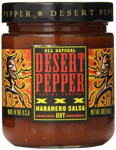 Pepper Roasted Desert Salsa (Desert Pepper Trading Company Roasted Habanera Salsa, Xxxtra Hot, 16 Ounce)