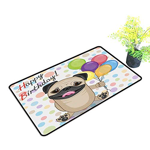 Zmstroy Outdoor Door mat Kids Birthday Animal Cute Dog Smiling Pug with Party Balloons Greeting Card Inspired Design W20 xL31 Quick and Easy to Clean Multicolor