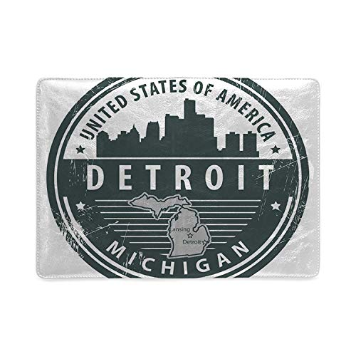 Detroit Decor Utility Notebooks,Damaged Old Stamp of Michigan USA with City Map Location Tourism Icon Decorative for Work,5.82