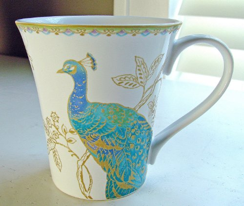 222 Fifth Peacock Garden Coffee Mugs, Set of 4