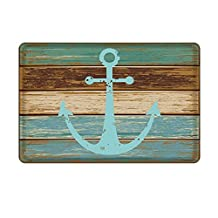 "Uphome Vintage Retro Nautical Anchor Flannel Microfiber Bathroom Shower Accent Rug - Turquoise and Brown Non-slip Soft Absorbent Bathroom Kitchen Floor Mat Carpet(16""W x 24""L)"
