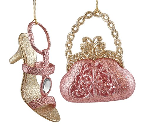 (Caffco Sparkling Butterfly Purse & Jeweled Heel Hanging Christmas Ornament Set)