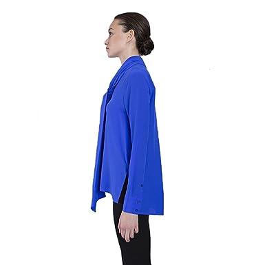 75df8be5837a7 VAUGHAN Women s Pussy Bow Tie Neck Blouse Long Sleeve Silk Shirt - Blue