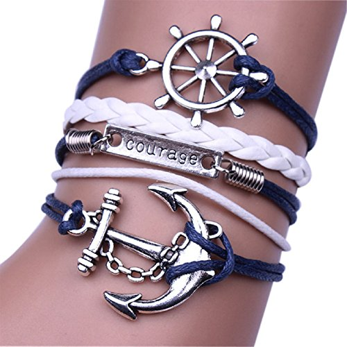 Ularmo Jewelry Mens Womens Multilayer Leather Bracelet Vintage Charm Bangle (Anchor)