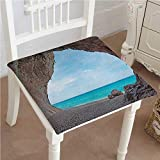 Mikihome Outdoor Chair Cushion Dreamy Cara Luna Cave by The Tropical in Mediterranean Seashore Comfortable, Indoor, Dining Living Room, Kitchen, Office, Den, Washable 24''x24''x2pcs