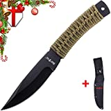 Grand Way Throwing Combat Ninja Black Knife – Real Fixed Blade Stainless Steel Tactical Balanced Knives Paracord Handle – Throw Classic Training Practice Knife Khaki Holster Belt Sheath FL 16706