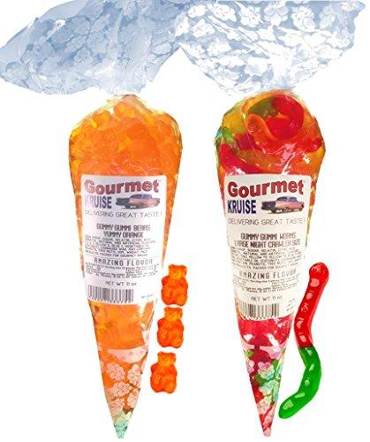 Energy Orange Gummy Gummi Bears And Worms Wild Fruit Assorted (NET WT 22 OZ) Gourmet Kruise Signature Gift Bags