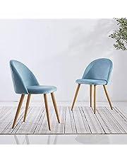OFCASA 2 x nowoczesne niebieskie aksamitne krzesła do jadalni z wyściełanym siedziskiem tapicerowane krzesło kuchenne drewniane malowane metalowe nogi do salonu domu salonu
