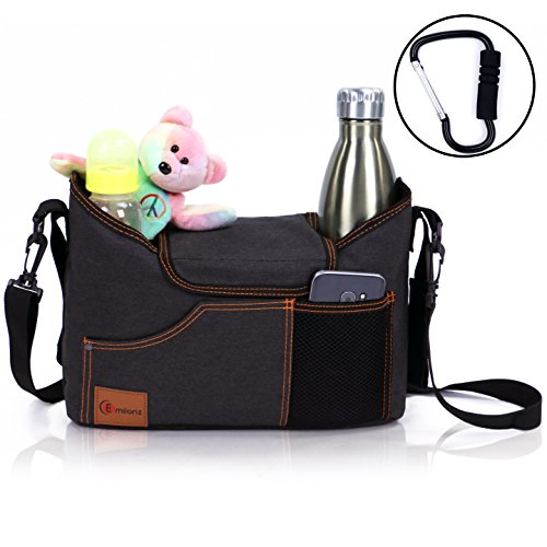 Best Universal Stroller Organizer Bag with Double Two Drink Cup Holders for Smart Moms - Baby Umbrella Stroller Storage Accessories for Shower Gifts Ideas - Bonus Shoulder Strap and Hook from Emilonz